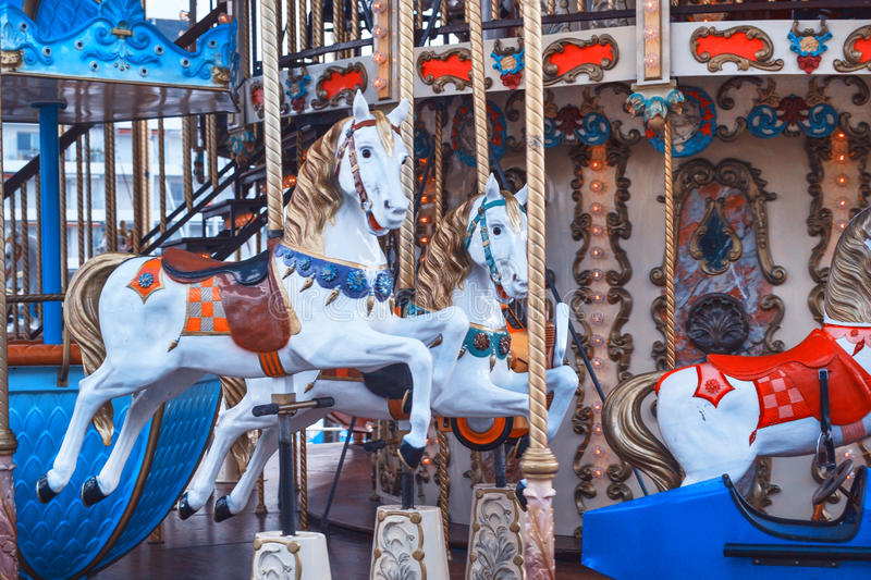Retro carousel horse. Vintage carousel horse in France royalty free stock photos