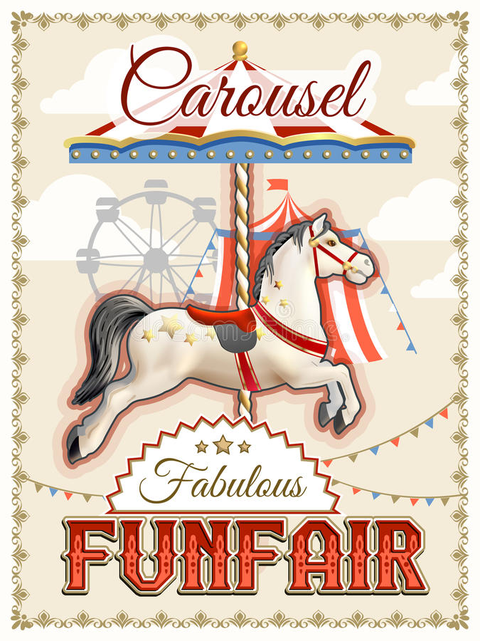 Retro Carousel plakat royalty ilustracja