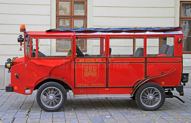 Retro carriage on the main square in Bratislava, Slovakia. Bratislava, Slovakia - November 4, 2015: retro carriage on the main square in Bratislava, Slovakia royalty free stock photography