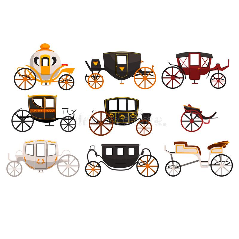 Retro carriages set, vintage transport, brougham, cab, wagon for traveling, wedding carriage vector Illustrations on a stock illustration