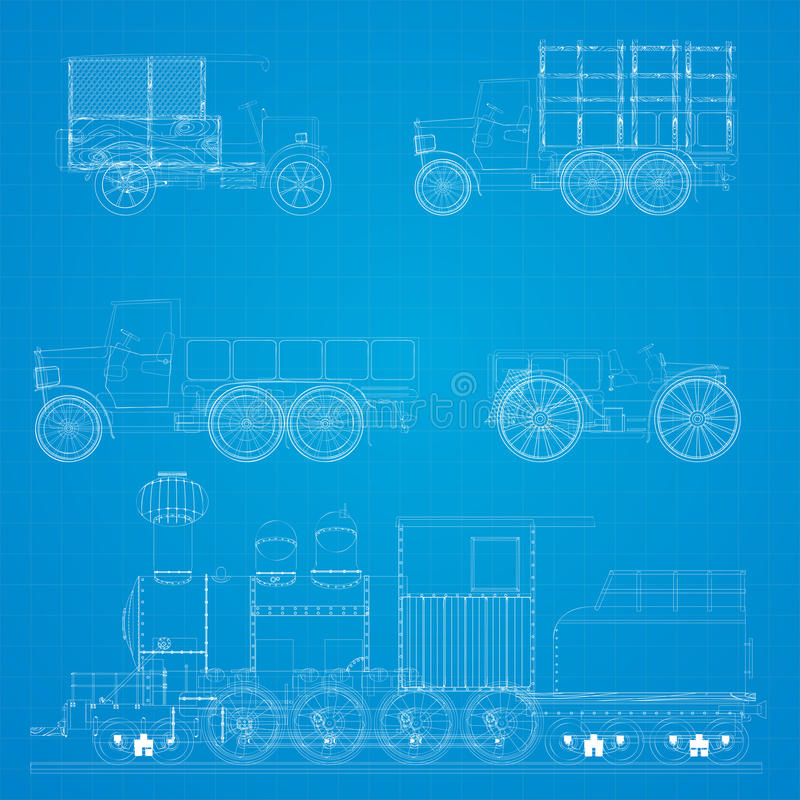 Retro cars blueprint stock vector illustration of collection 26683703 old transportation vehicles and steam locomotive blueprint design malvernweather Image collections