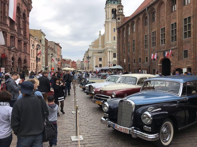 Retro cars at classic cars show in Torun stock photo