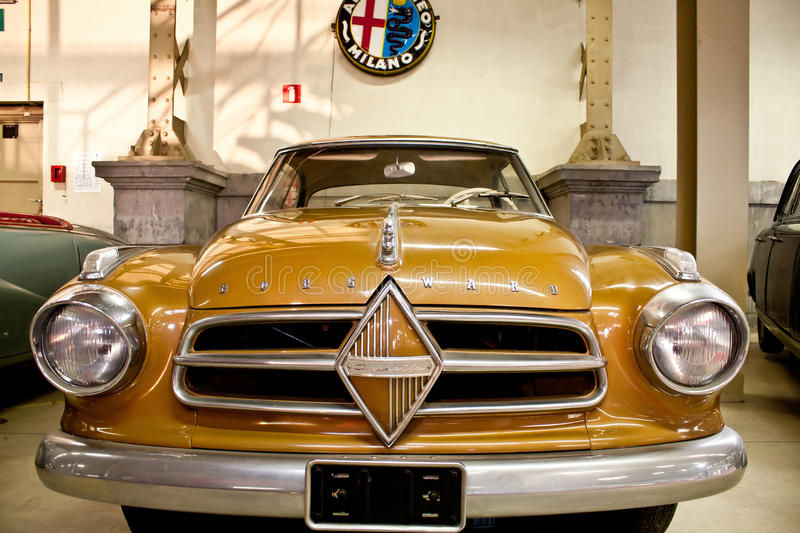 Retro cars on display royalty free stock images