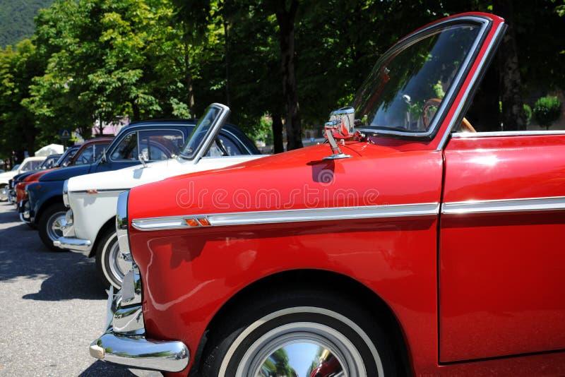 Retro cars exhibition. Outdoor italian retro cars exhibition royalty free stock photo