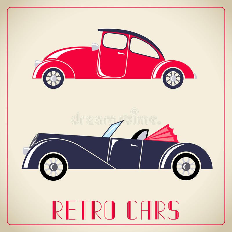 Retro cars illustration. Red and blue retro cars illustration vector illustration
