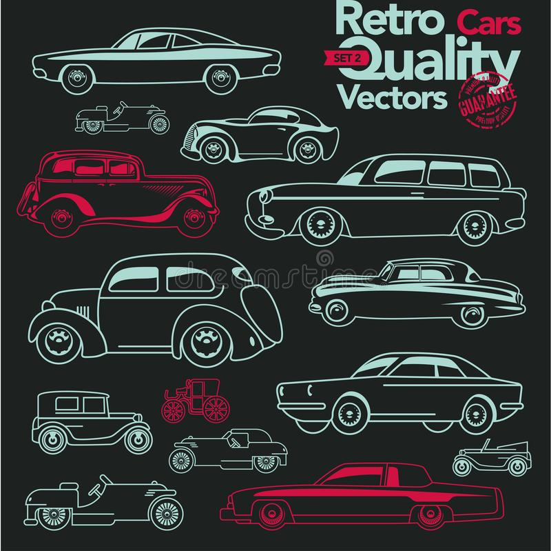 Retro cars outline icons set 2. royalty free illustration