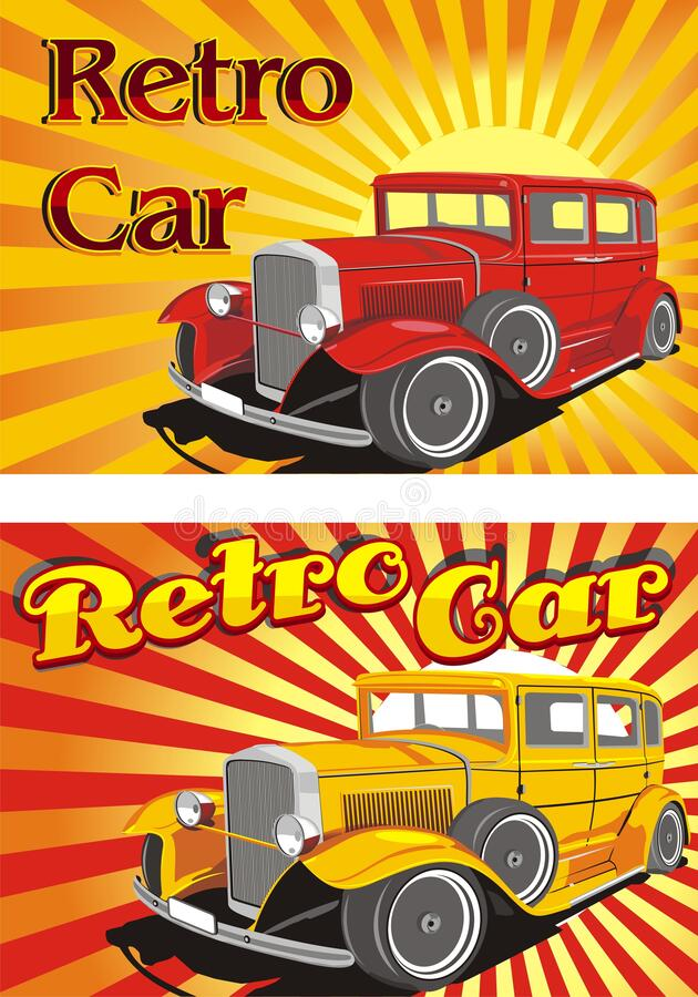 Retro cars in the rays of the abstract sun stock images