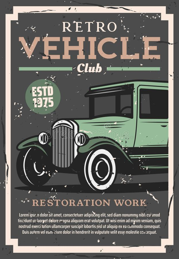 Retro cars repair, vintage auto club royalty free illustration