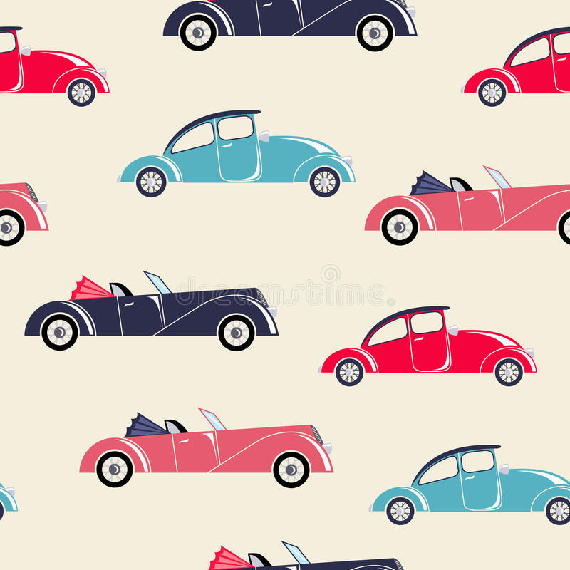 Retro cars seamless pattern. For children textile and wallpapers stock illustration