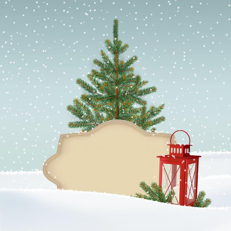 Retro, cartão do Natal do vintage, convite Paisagem nevado do inverno com abeto, árvore de Natal spruce, etiqueta de papel ilustração royalty free