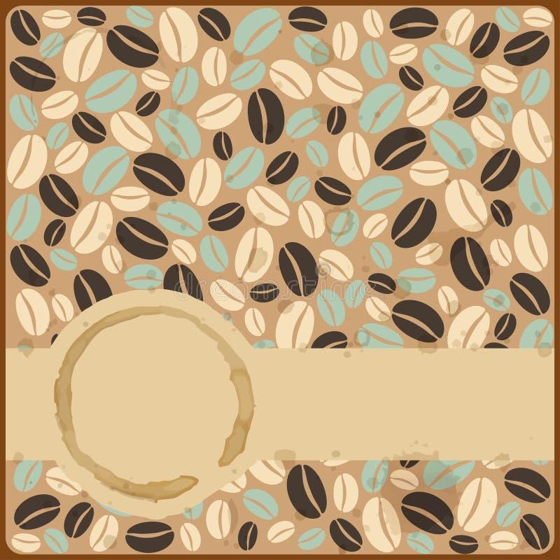 Retro carta d'annata di lerciume con le macchie ed i chicchi di caffè su un grun illustrazione vettoriale