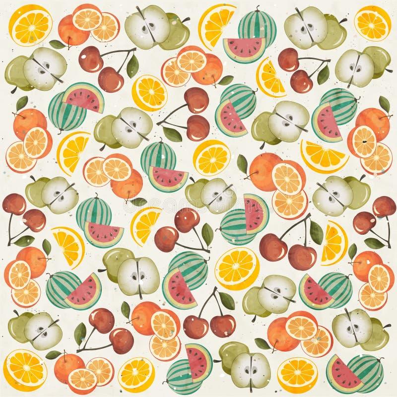 Retro carta da parati d'annata di stile con i frutti. illustrazione di stock