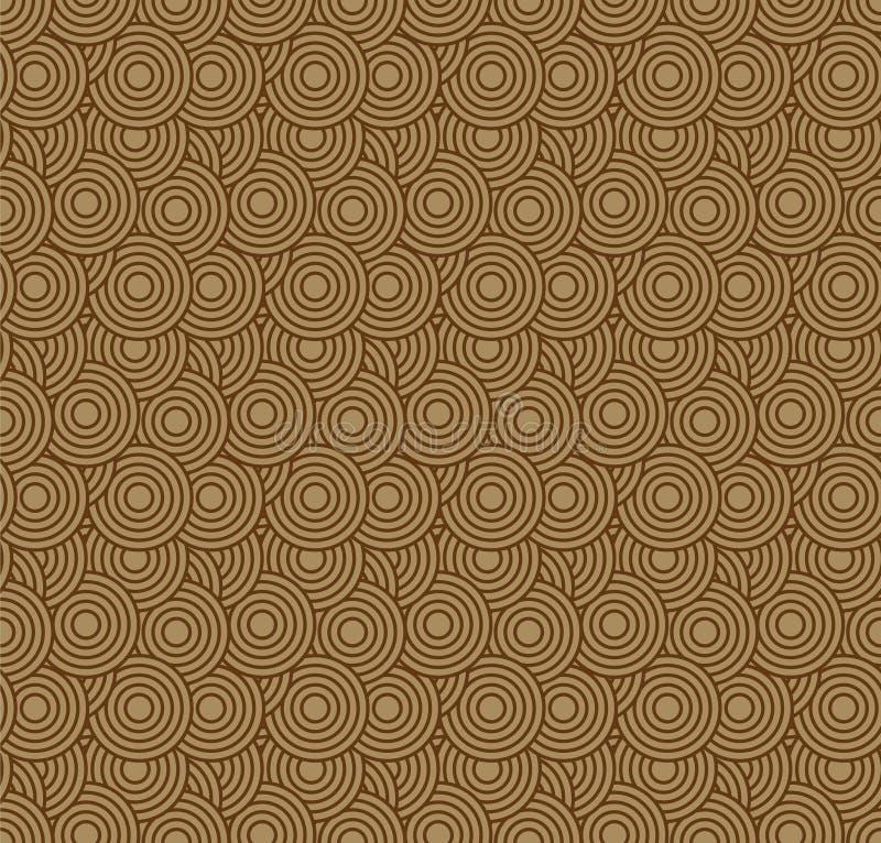Retro carta da parati Modello geometrico senza cuciture astratto con i cerchi su marrone illustrazione vettoriale