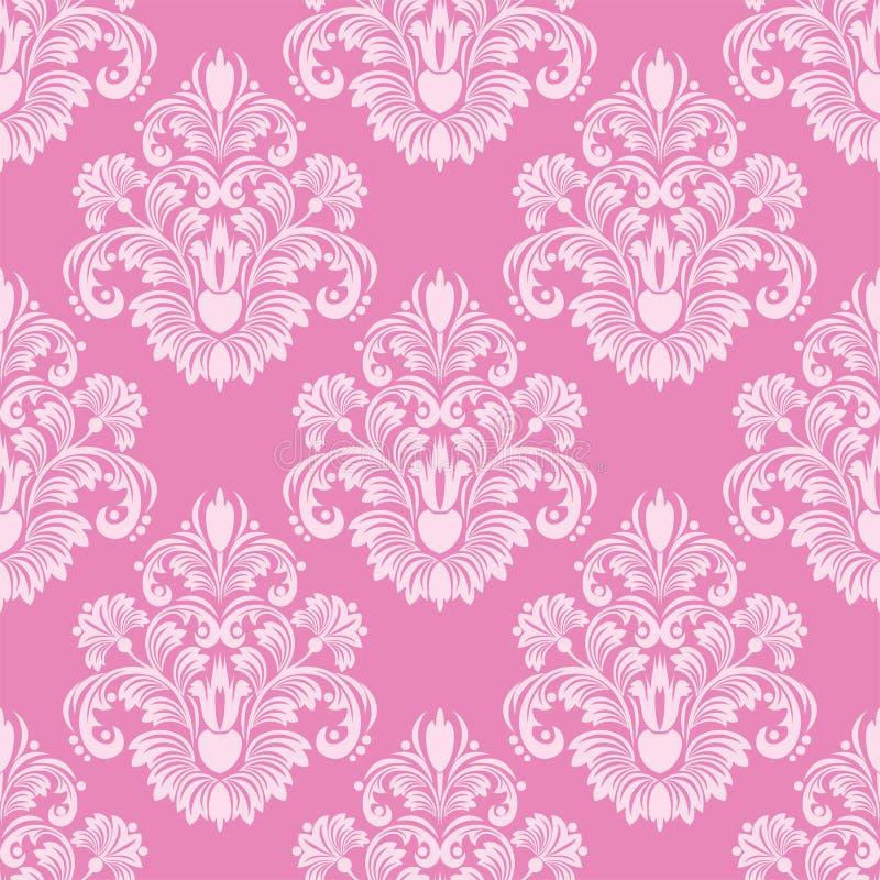 Retro carta da parati senza cuciture rosa del damasco illustrazione di stock