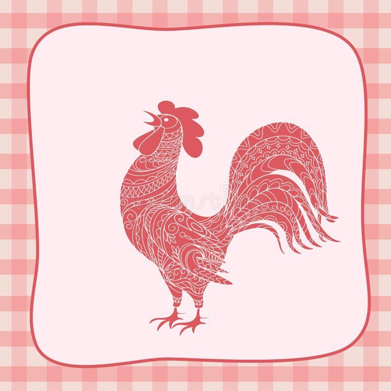 Retro carta del nuovo anno con il gallo illustrazione vettoriale