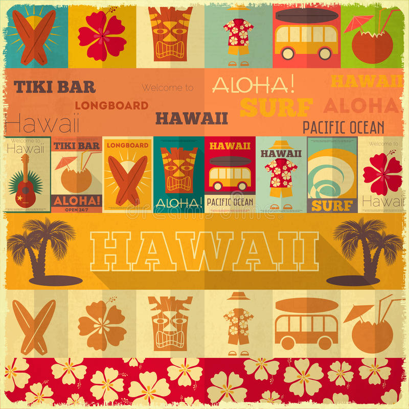 Retro carta delle Hawai royalty illustrazione gratis