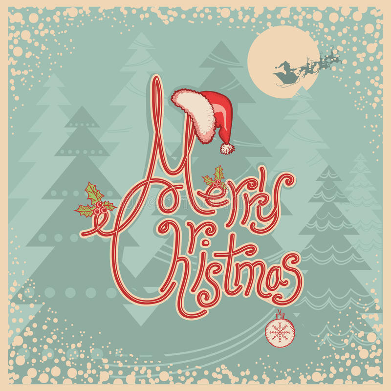Retro carta di Buon Natale con testo. L'annata accoglie illustrazione di stock