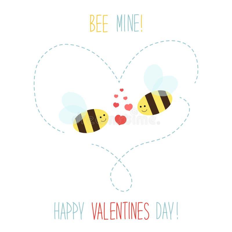Retro carta disegnata a mano sveglia di giorno del ` s del biglietto di S. Valentino come api divertenti illustrazione vettoriale