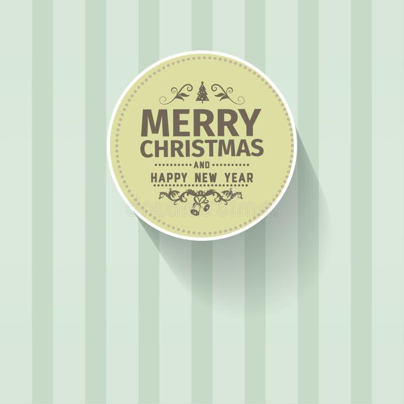 Retro carta verde semplice d'annata di saluto di vettore di Buon Natale illustrazione di stock