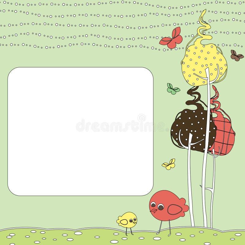 Retro cartolina d'auguri illustrazione di stock