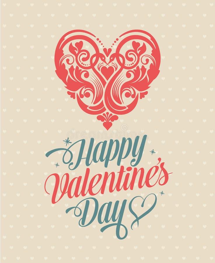 Retro cartolina d'auguri felice d'annata di giorno di biglietti di S. Valentino illustrazione vettoriale