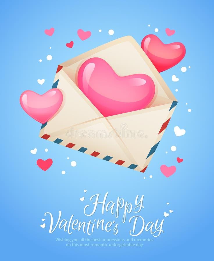 Retro cartolina della lettera romantica della posta aerea illustrazione vettoriale