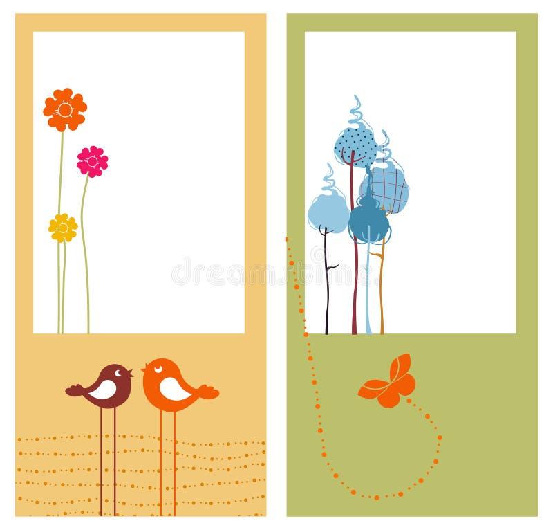 Retro cartoline d'auguri illustrazione vettoriale