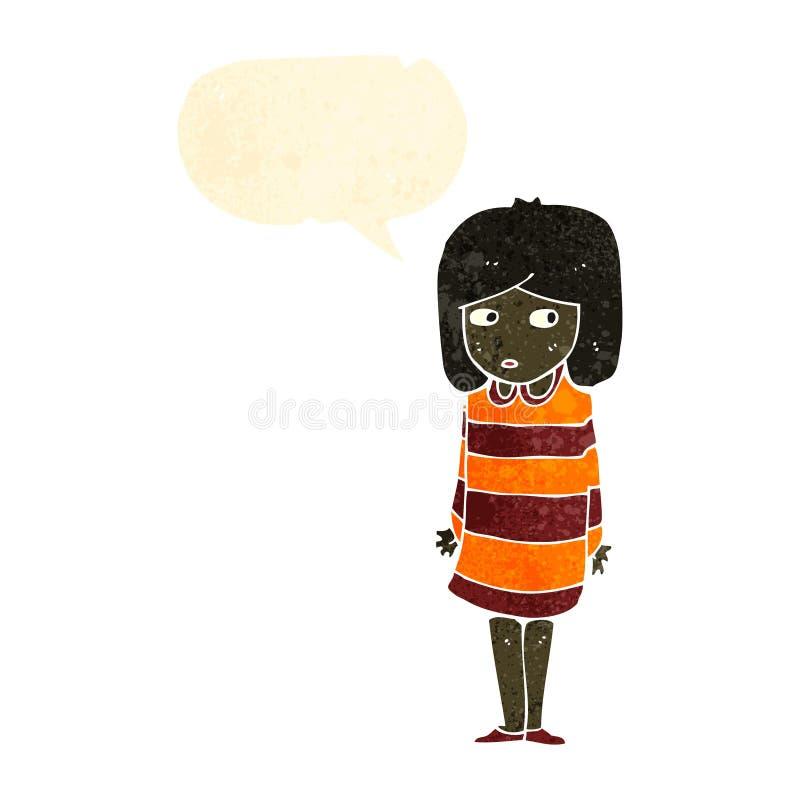 Retro cartoon anxious girl. Retro cartoon with texture. Isolated on White stock illustration