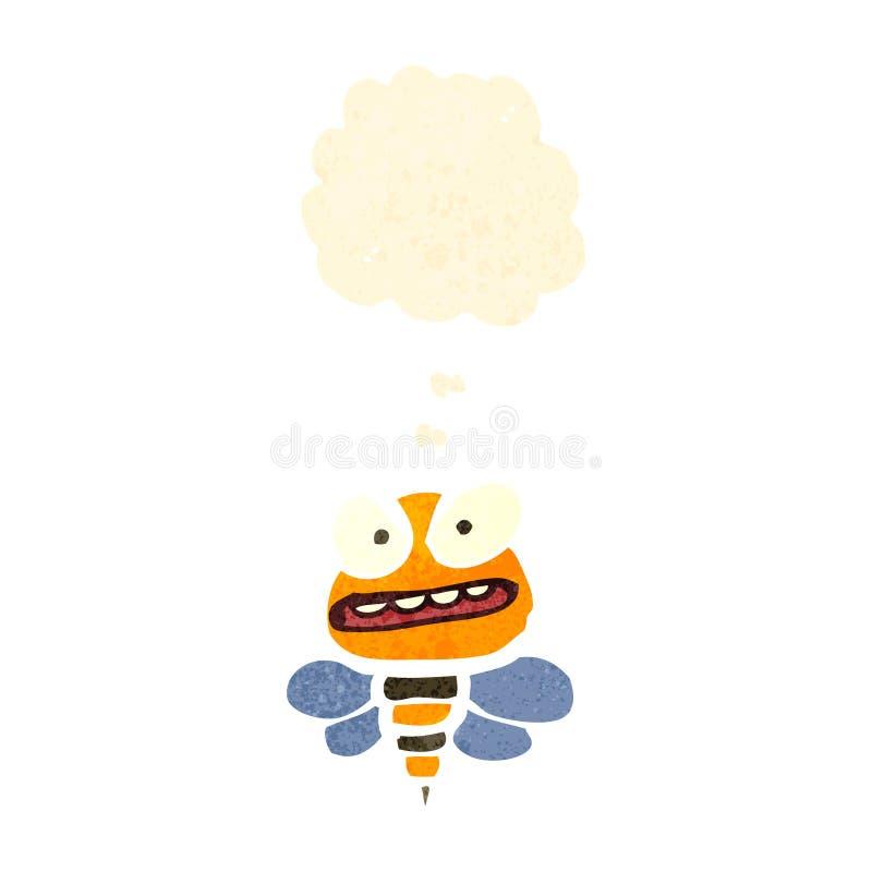Retro cartoon bee. Retro cartoon with texture. Isolated on White vector illustration