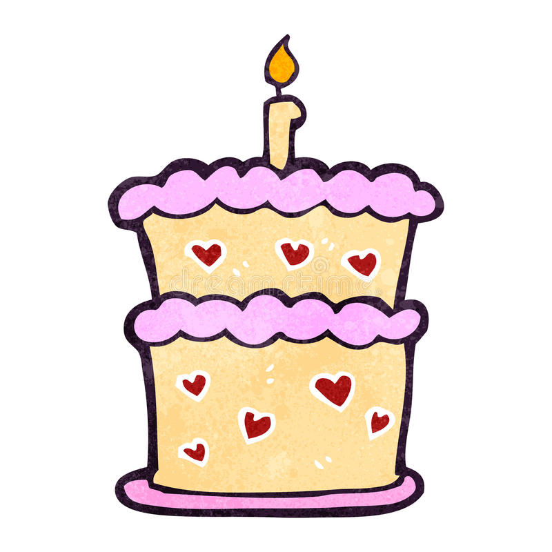 Retro Cartoon Birthday Cake Stock Illustration Illustration of