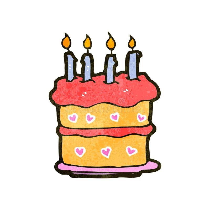 Retro Cartoon Birthday Cake Stock Illustration Illustration Of
