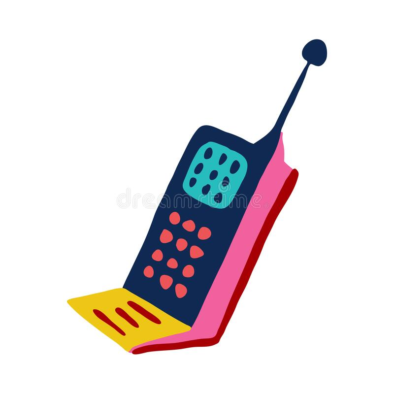 Retro cartoon cellular telephone with antenna, old phone symbol vector illustration