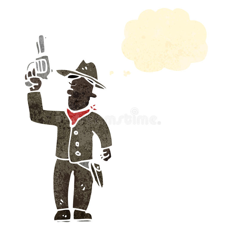 retro cartoon cowboy vector illustration