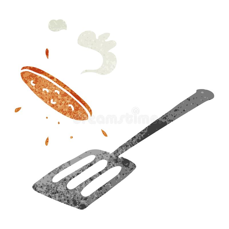 Retro cartoon doodle of a burger being flipped. A creative illustrated retro cartoon doodle of a burger being flipped stock illustration