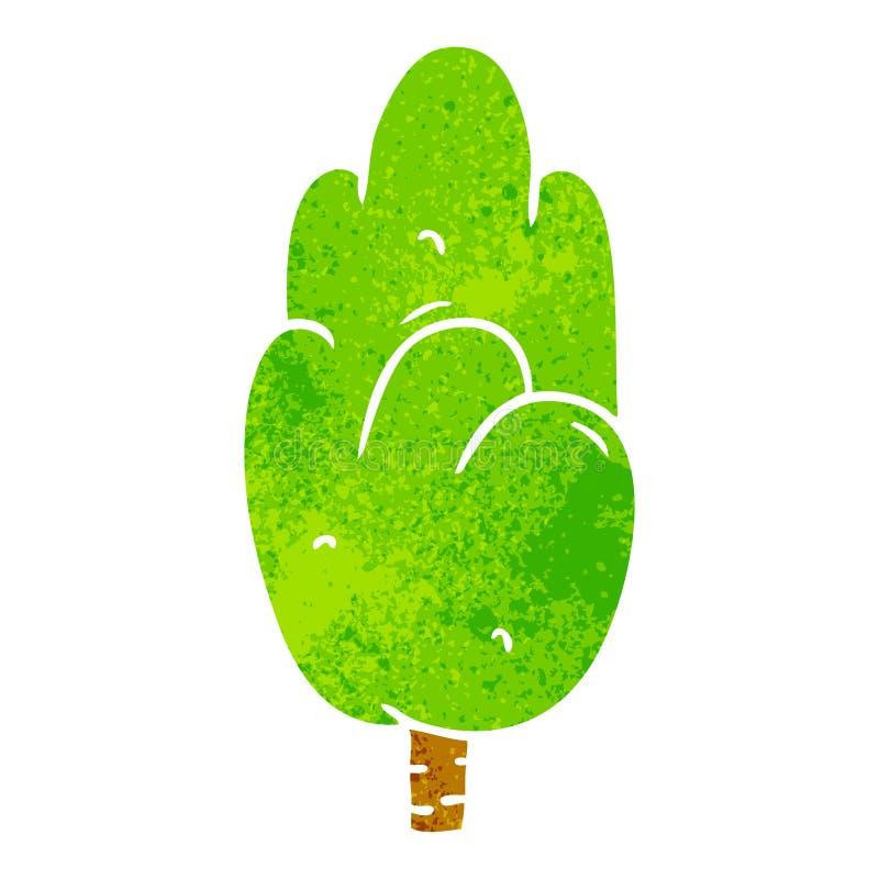 Retro cartoon doodle single green tree. A creative illustrated retro cartoon doodle single green tree stock illustration