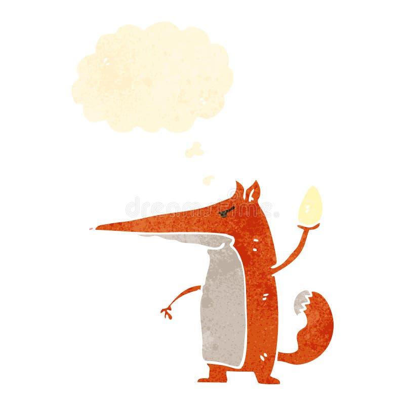 Retro cartoon fox. Retro cartoon with texture. Isolated on White royalty free illustration