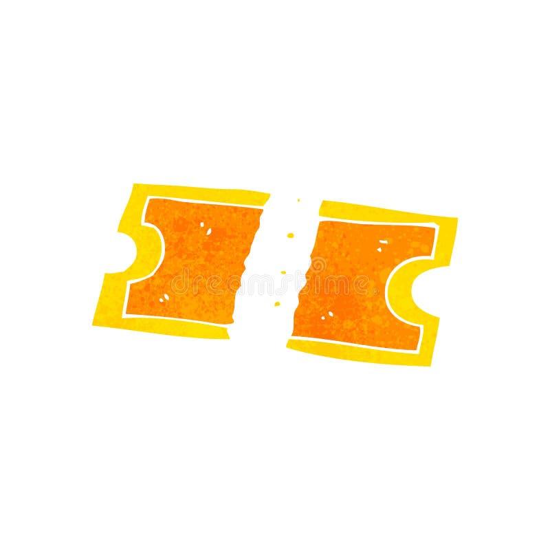 Retro cartoon golden ticket. Retro cartoon illustration. On plain white background vector illustration