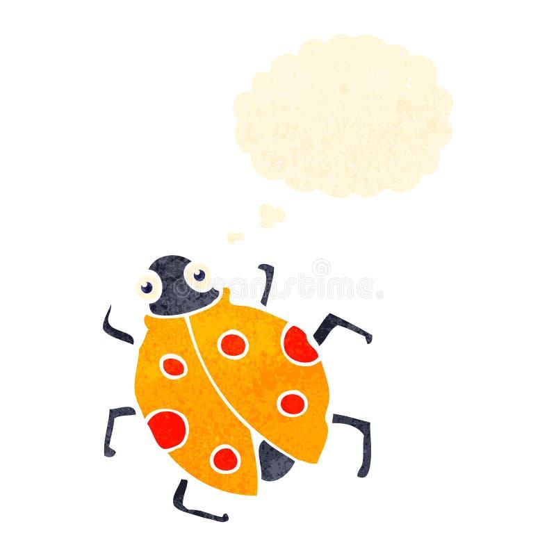 Retro cartoon ladybug. Retro cartoon with texture. Isolated on White royalty free illustration