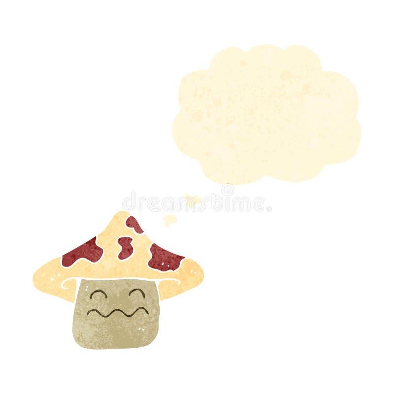 Retro cartoon magic mushroom with thought bubble. Retro cartoon with texture. Isolated on White stock illustration