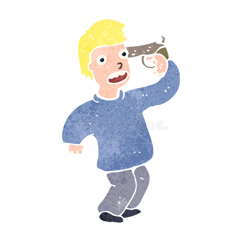 retro cartoon man with gun to head stock illustration illustration rh dreamstime com cartoon gun to head image cartoon character gun to head