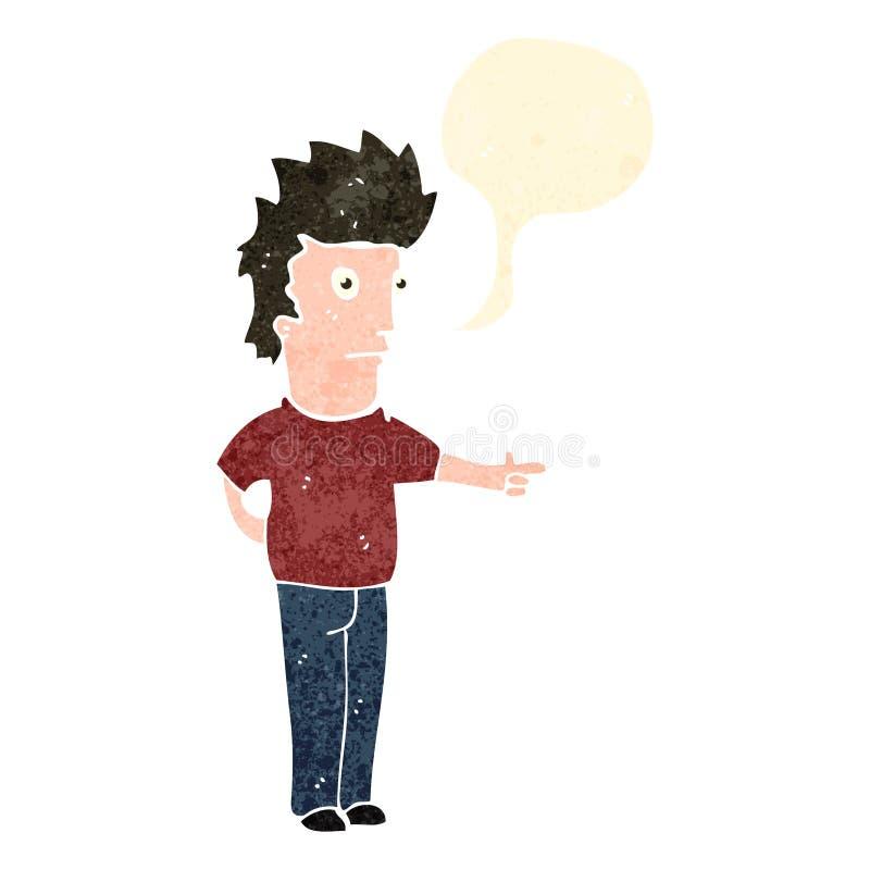 Retro cartoon man with speech bubble. Retro cartoon with texture. Isolated on White royalty free illustration