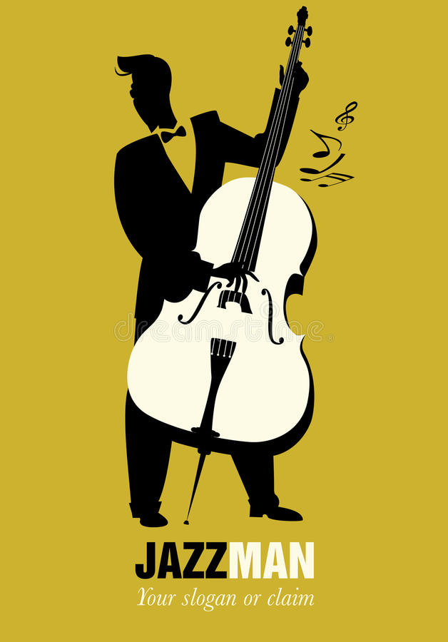 Retro cartoon music. Double bass player playing song. Musical no. Te stock illustration