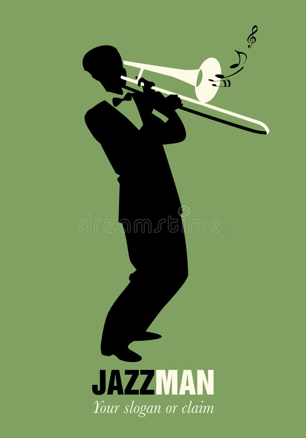Retro cartoon music. Trombone player playing a song. Musical note royalty free illustration