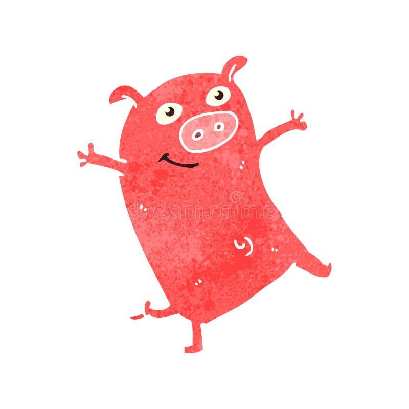 retro cartoon piglet vector illustration