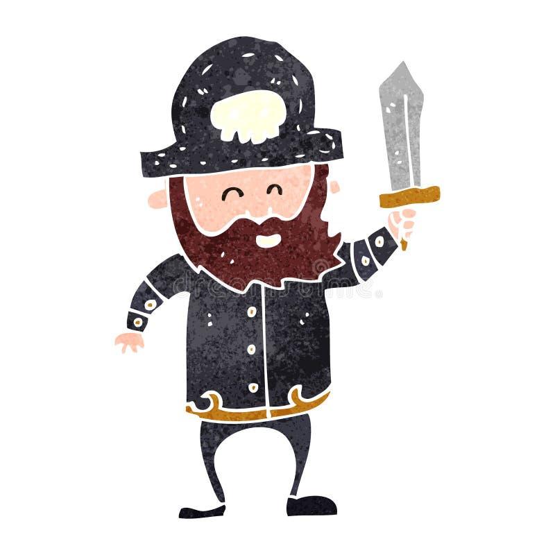 Retro cartoon pirate captain. Retro cartoon illustration. On plain white background vector illustration