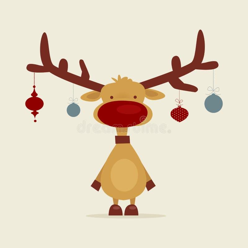 Retro cartoon reindeer vector illustration