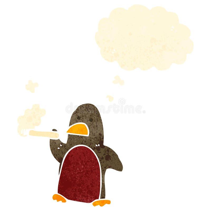 Retro cartoon robin smoking cigarette. Retro cartoon with texture. Isolated on White vector illustration