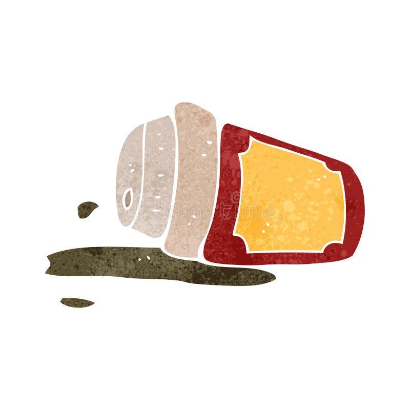 Retro cartoon spilled coffee. Retro cartoon with texture. Isolated on White stock illustration