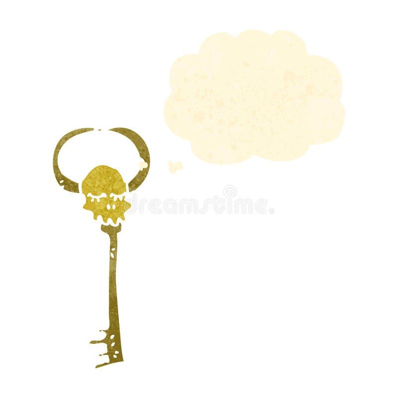 retro cartoon spooky magic key stock illustration