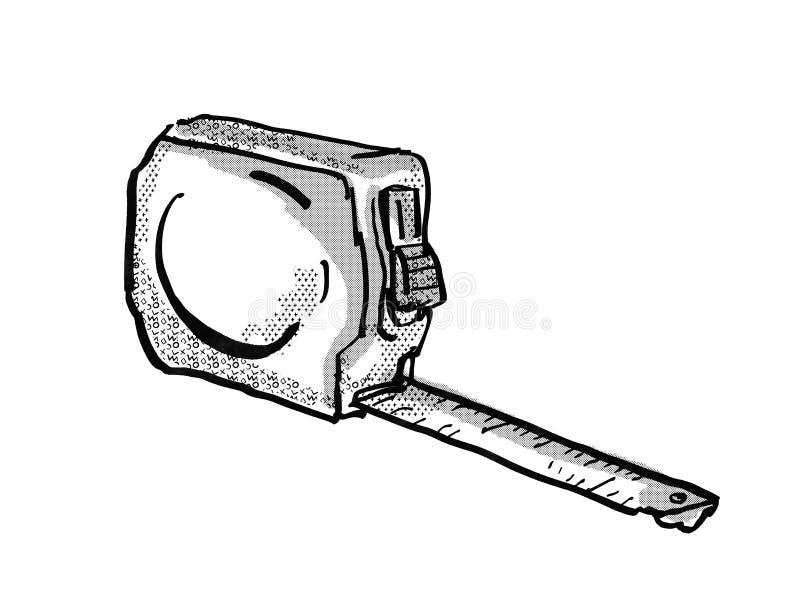 Measuring Tape Cartoon Retro Drawing stock illustration